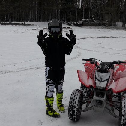 quad biking in winter